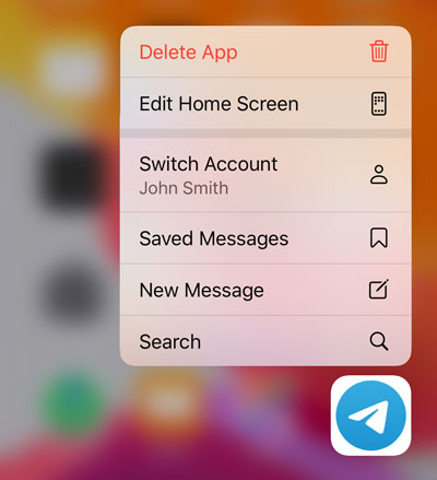 App menu on an iOS 13 home screen, featuring a 'Switch Account' button